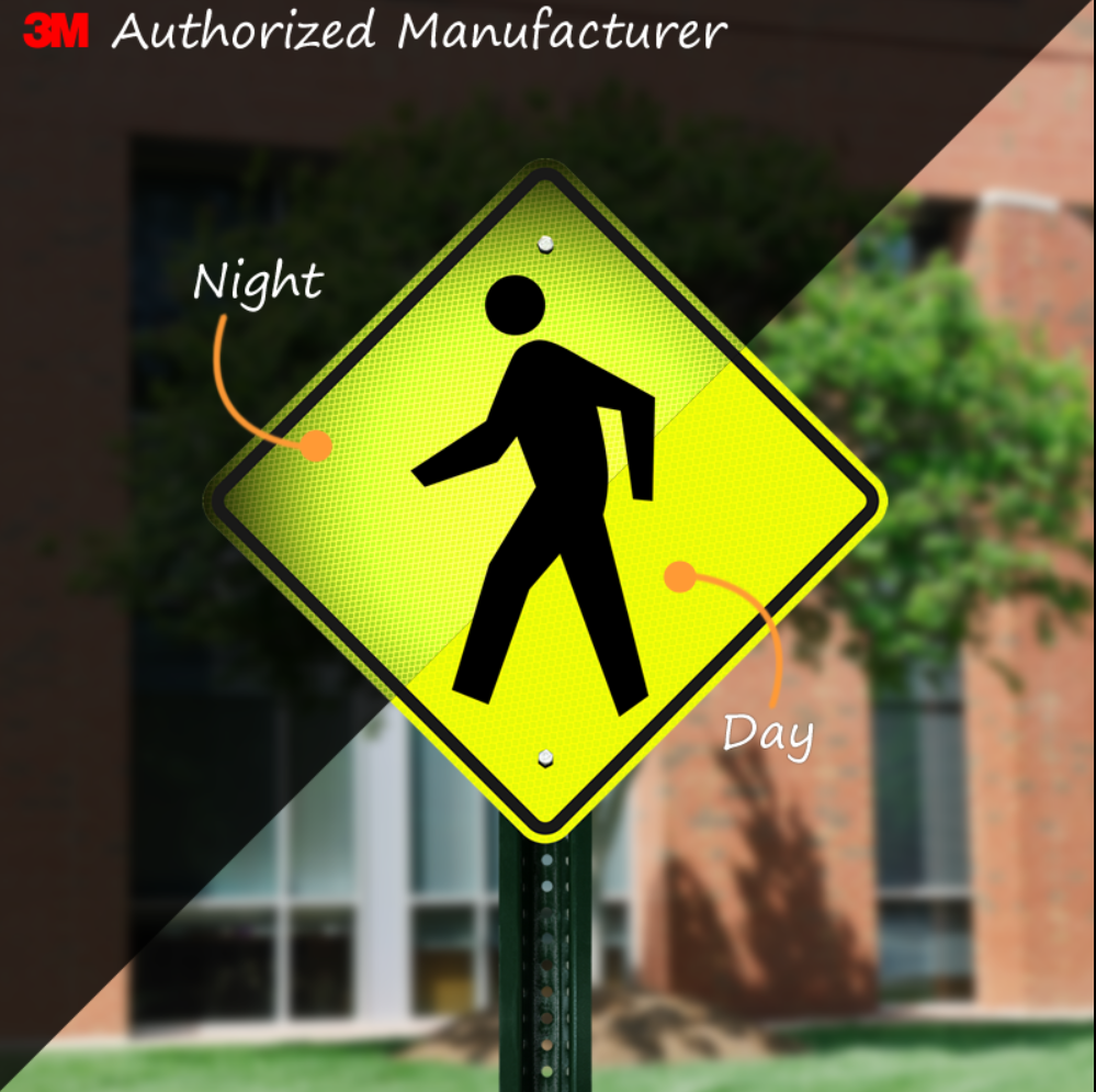 Pedestrian Crossing Sign, Night & Day
