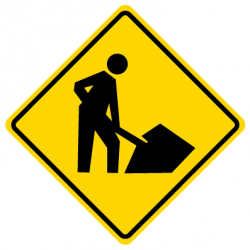 Workers Present Traffic Sign