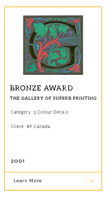 Gallery of Superb Printing - Bronze Award 2001