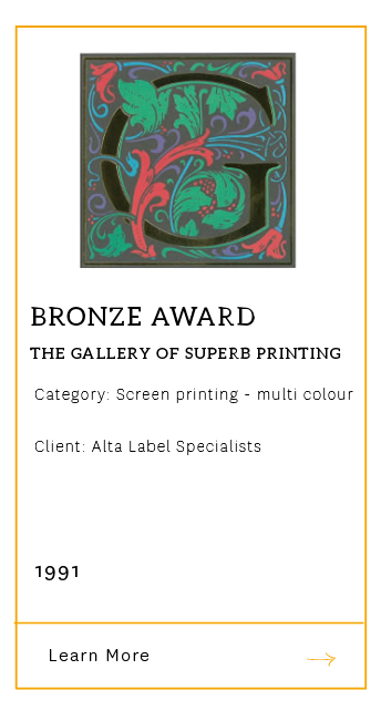 Gallery of Superb Printing - Bronze Award 1991
