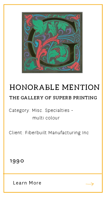 Gallery of Superb Printing - Honorable Mention 1990