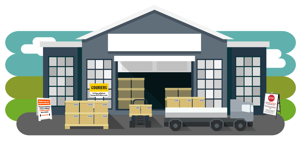 Graphic indicating how to use covid-19 signage outside your warehouse