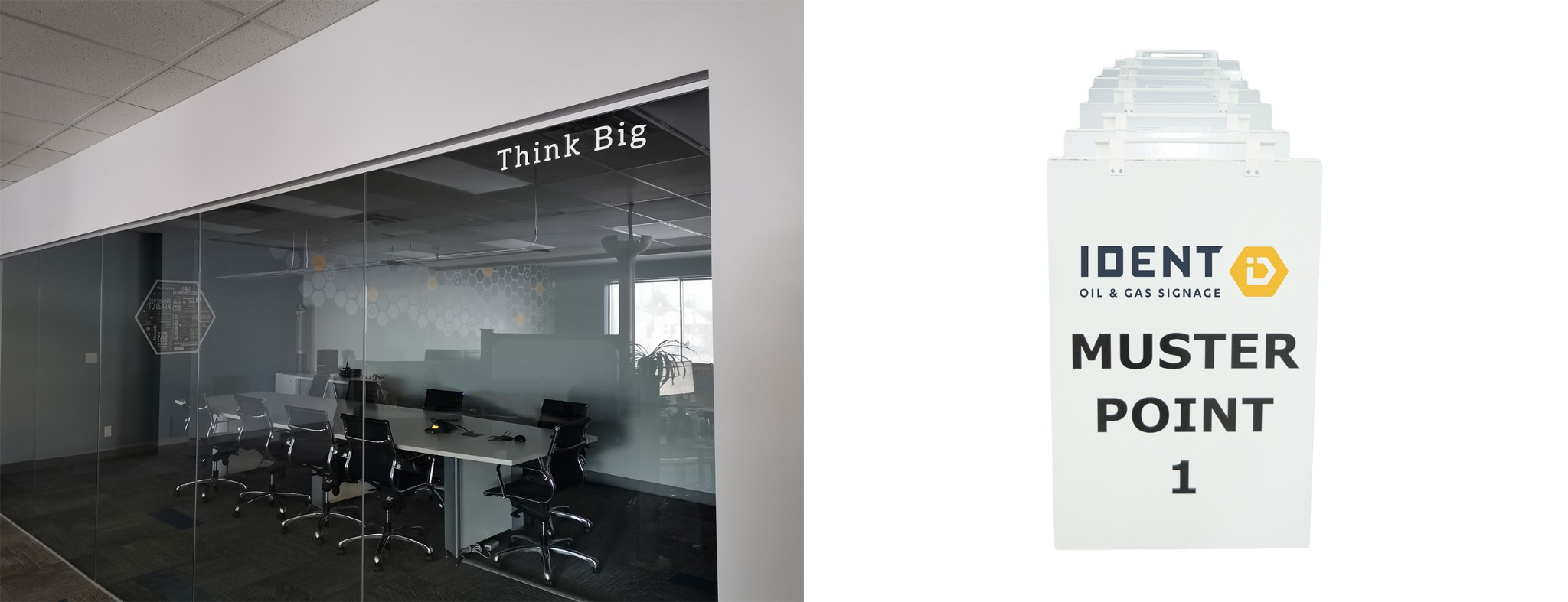 Think Big Meeting Room Decal & Muster Point Sandwhich Board